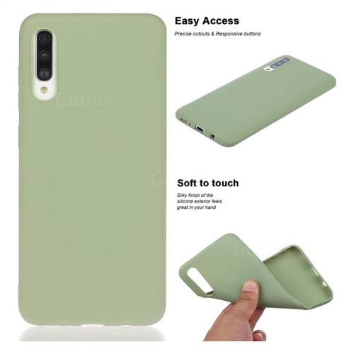 Soft Matte Silicone Phone Cover for Samsung Galaxy A30s - Bean Green