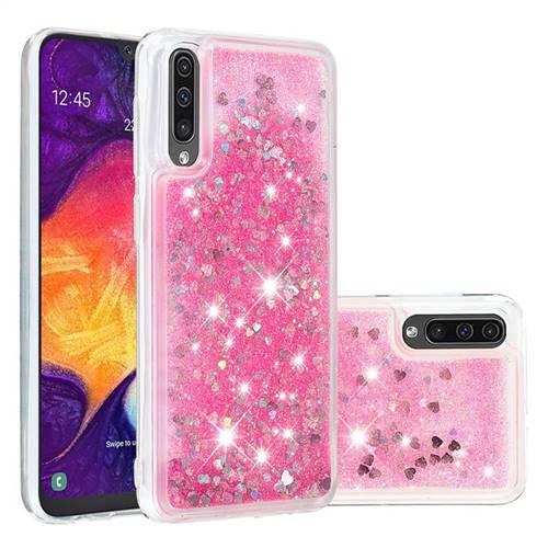 Dynamic Liquid Glitter Quicksand Sequins TPU Phone Case for Samsung Galaxy A30s - Rose