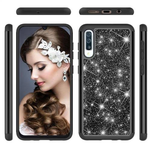 Glitter Rhinestone Bling Shock Absorbing Hybrid Defender Rugged Phone Case Cover for Samsung Galaxy A30s - Black