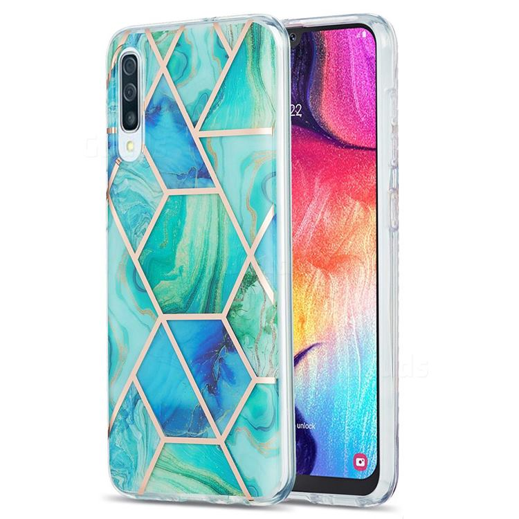 Green Glacier Marble Pattern Galvanized Electroplating Protective Case Cover for Samsung Galaxy A30s