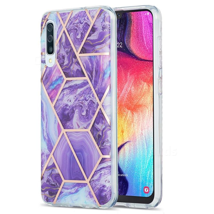 Purple Gagic Marble Pattern Galvanized Electroplating Protective Case Cover for Samsung Galaxy A30s
