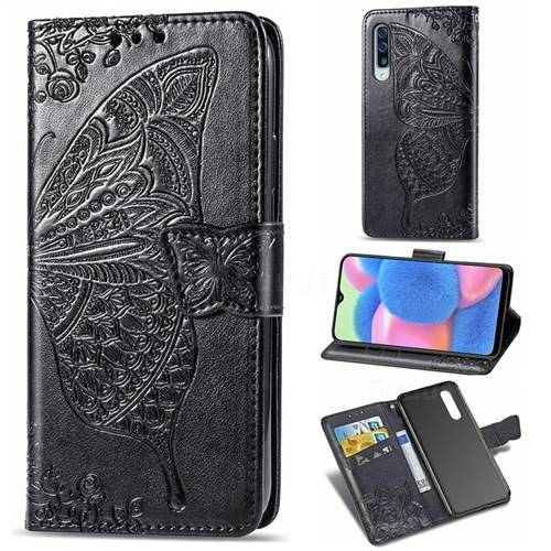 Embossing Mandala Flower Butterfly Leather Wallet Case for Samsung Galaxy A30s - Black