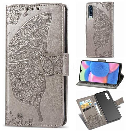 Embossing Mandala Flower Butterfly Leather Wallet Case for Samsung Galaxy A30s - Gray