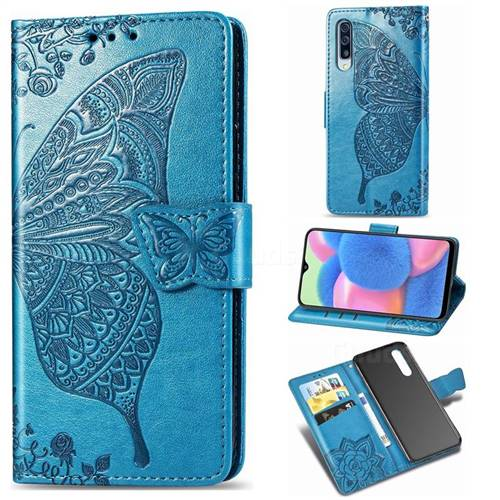 Embossing Mandala Flower Butterfly Leather Wallet Case for Samsung Galaxy A30s - Blue