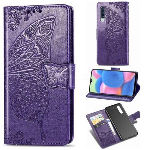 Embossing Mandala Flower Butterfly Leather Wallet Case for Samsung Galaxy A30s - Dark Purple
