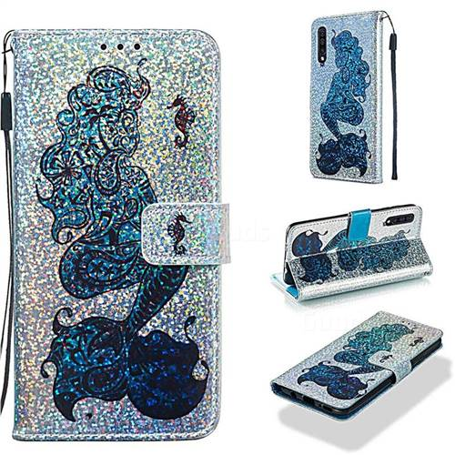 Mermaid Seahorse Sequins Painted Leather Wallet Case for Samsung Galaxy A30s