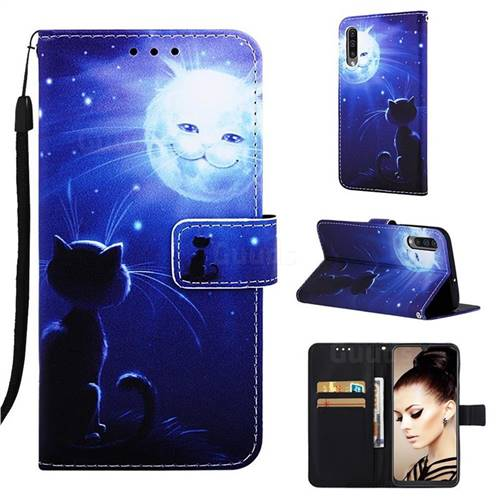 Cat and Moon Matte Leather Wallet Phone Case for Samsung Galaxy A30s