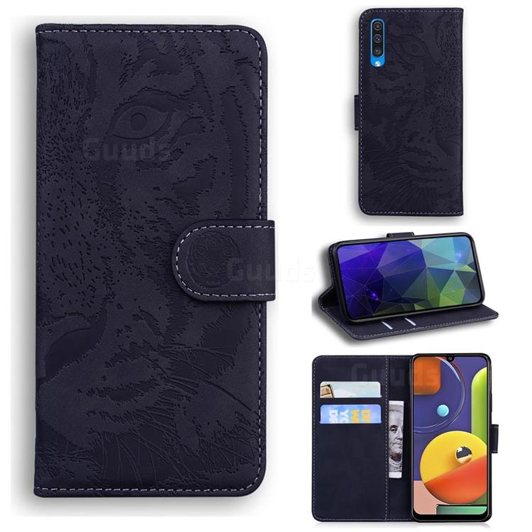 Intricate Embossing Tiger Face Leather Wallet Case for Samsung Galaxy A30s - Black