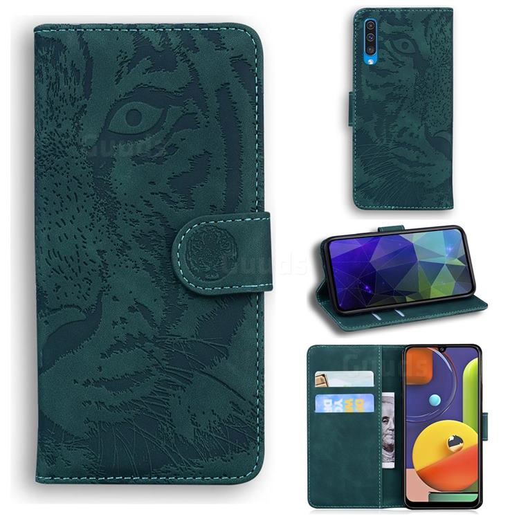Intricate Embossing Tiger Face Leather Wallet Case for Samsung Galaxy A30s - Green