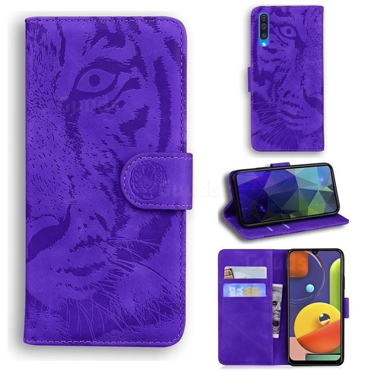 Intricate Embossing Tiger Face Leather Wallet Case for Samsung Galaxy A30s - Purple