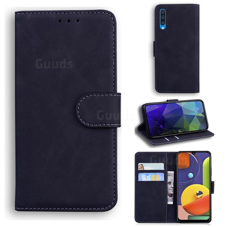 Retro Classic Skin Feel Leather Wallet Phone Case for Samsung Galaxy A30s - Black