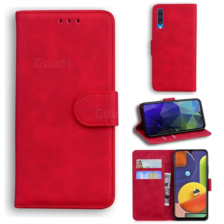 Retro Classic Skin Feel Leather Wallet Phone Case for Samsung Galaxy A30s - Red
