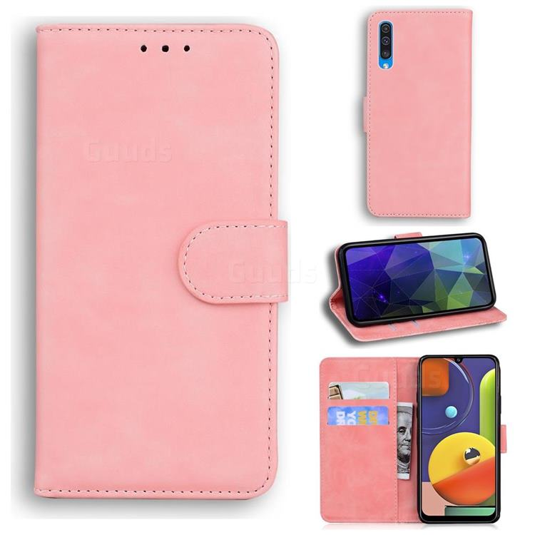 Retro Classic Skin Feel Leather Wallet Phone Case for Samsung Galaxy A30s - Pink
