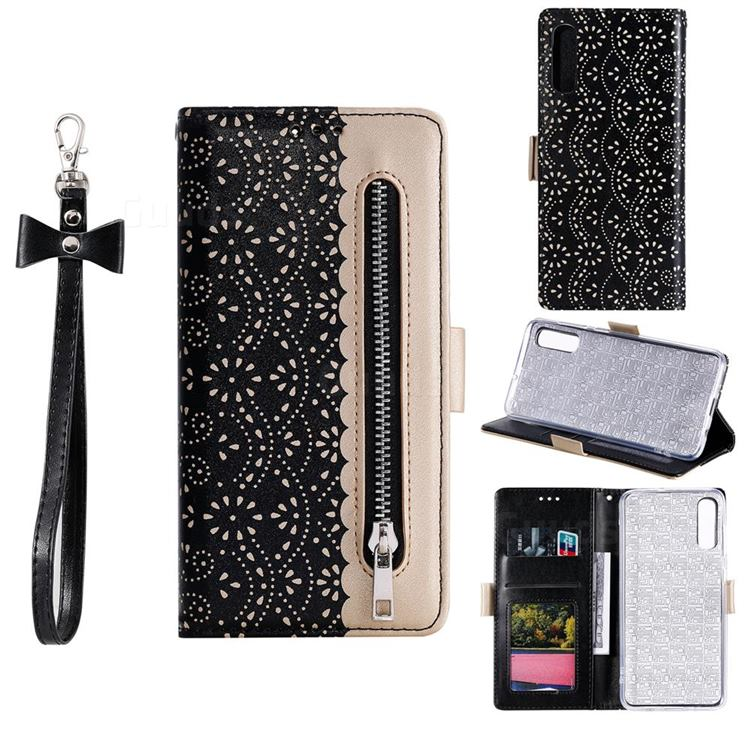Luxury Lace Zipper Stitching Leather Phone Wallet Case for Samsung Galaxy A30s - Black