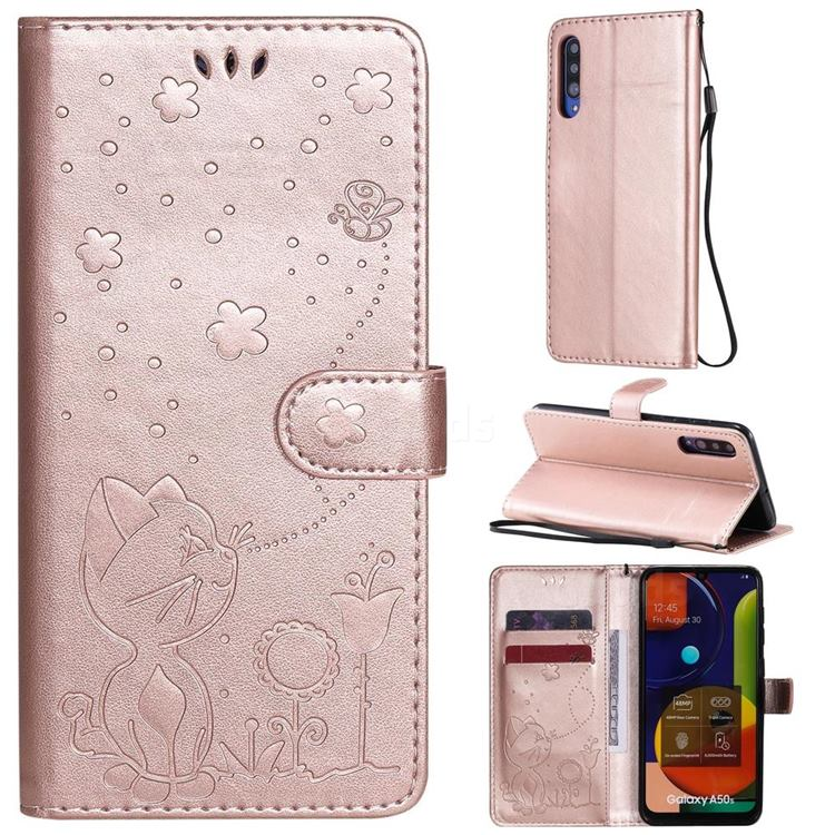 Embossing Bee and Cat Leather Wallet Case for Samsung Galaxy A30s - Rose Gold