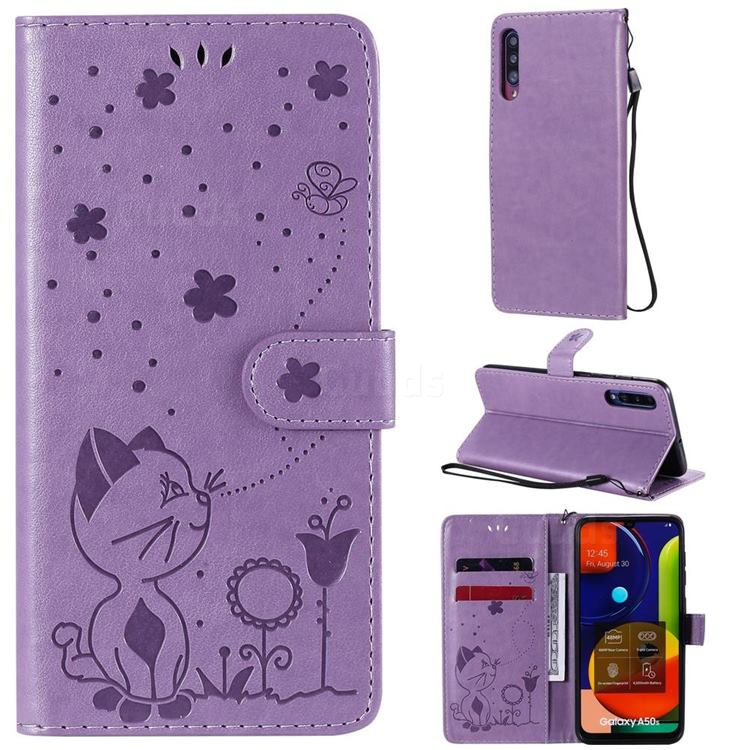 Embossing Bee and Cat Leather Wallet Case for Samsung Galaxy A30s - Purple