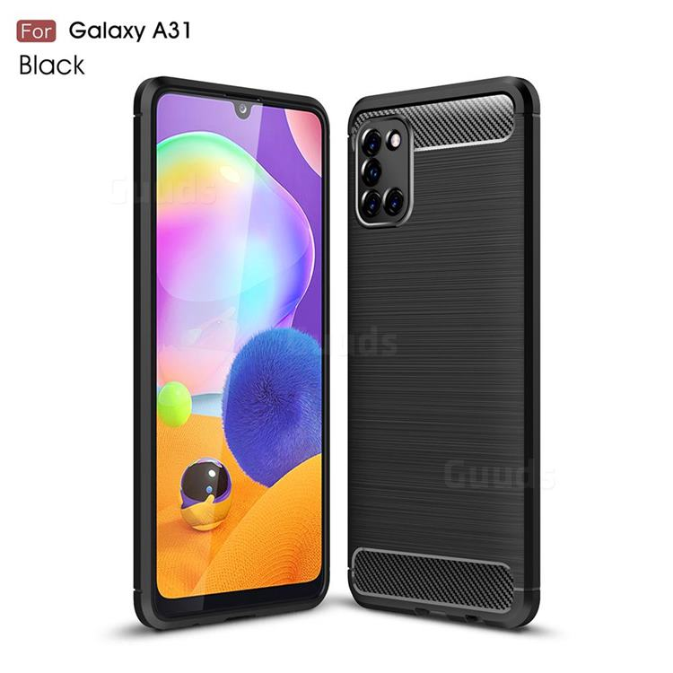 Luxury Carbon Fiber Brushed Wire Drawing Silicone TPU Back Cover for Samsung Galaxy A31 - Black