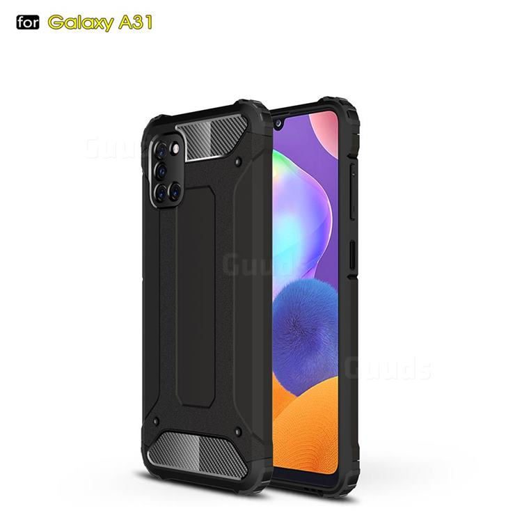King Kong Armor Premium Shockproof Dual Layer Rugged Hard Cover for Samsung Galaxy A31 - Black Gold