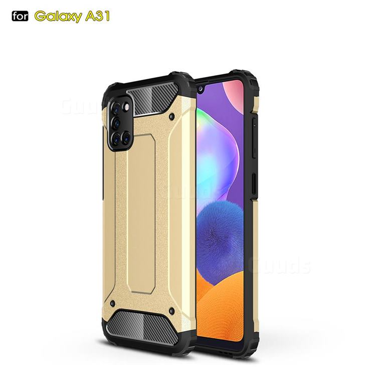 King Kong Armor Premium Shockproof Dual Layer Rugged Hard Cover for Samsung Galaxy A31 - Champagne Gold
