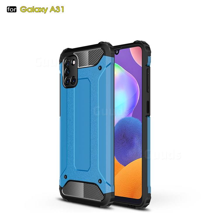 King Kong Armor Premium Shockproof Dual Layer Rugged Hard Cover for Samsung Galaxy A31 - Sky Blue
