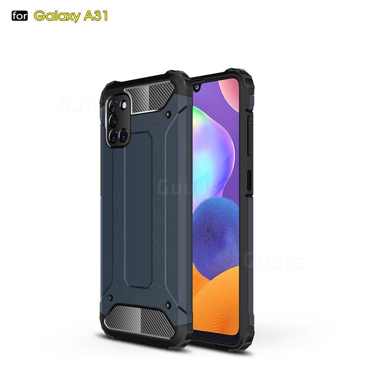 King Kong Armor Premium Shockproof Dual Layer Rugged Hard Cover for Samsung Galaxy A31 - Navy