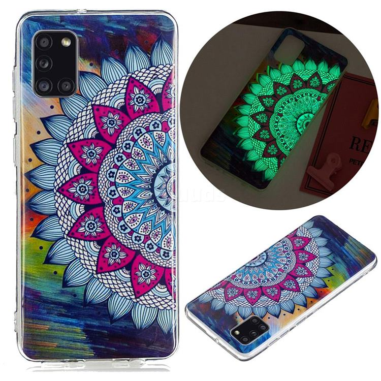 Colorful Sun Flower Noctilucent Soft TPU Back Cover for Samsung Galaxy A31