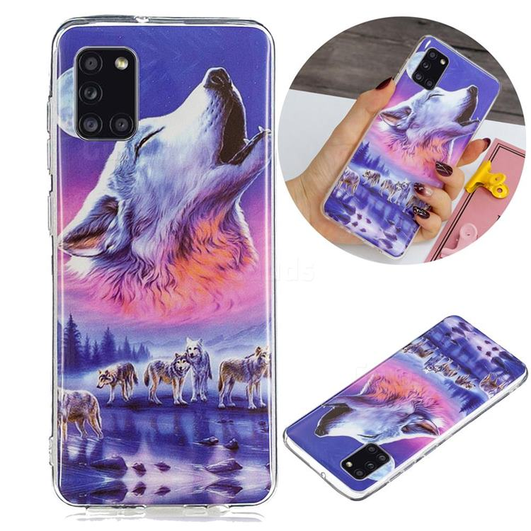 Wolf Howling Noctilucent Soft TPU Back Cover for Samsung Galaxy A31