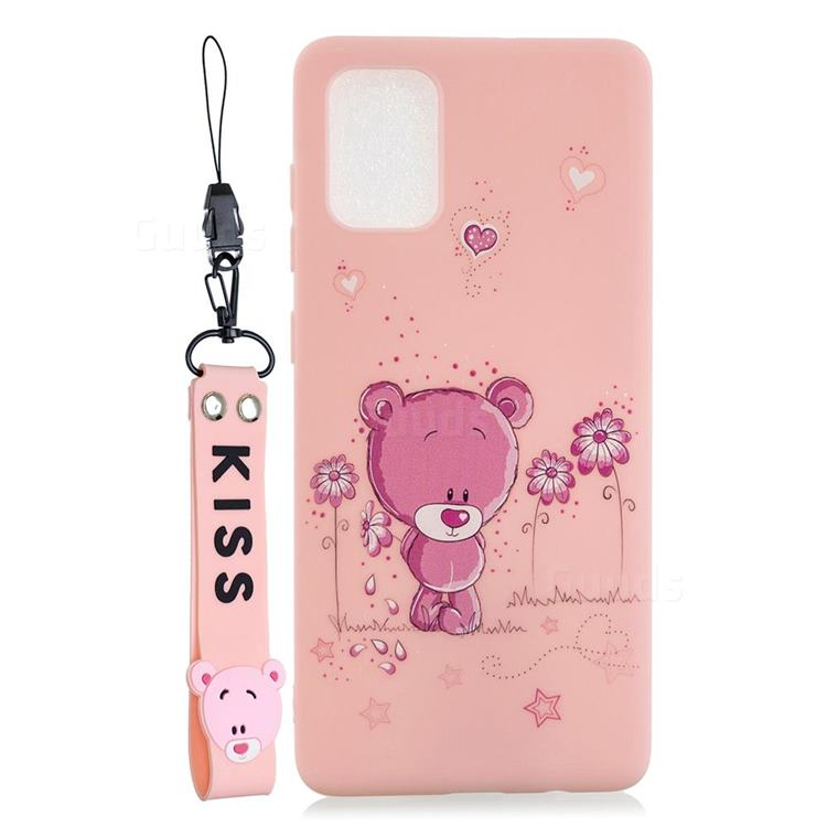 Pink Flower Bear Soft Kiss Candy Hand Strap Silicone Case for Samsung Galaxy A31