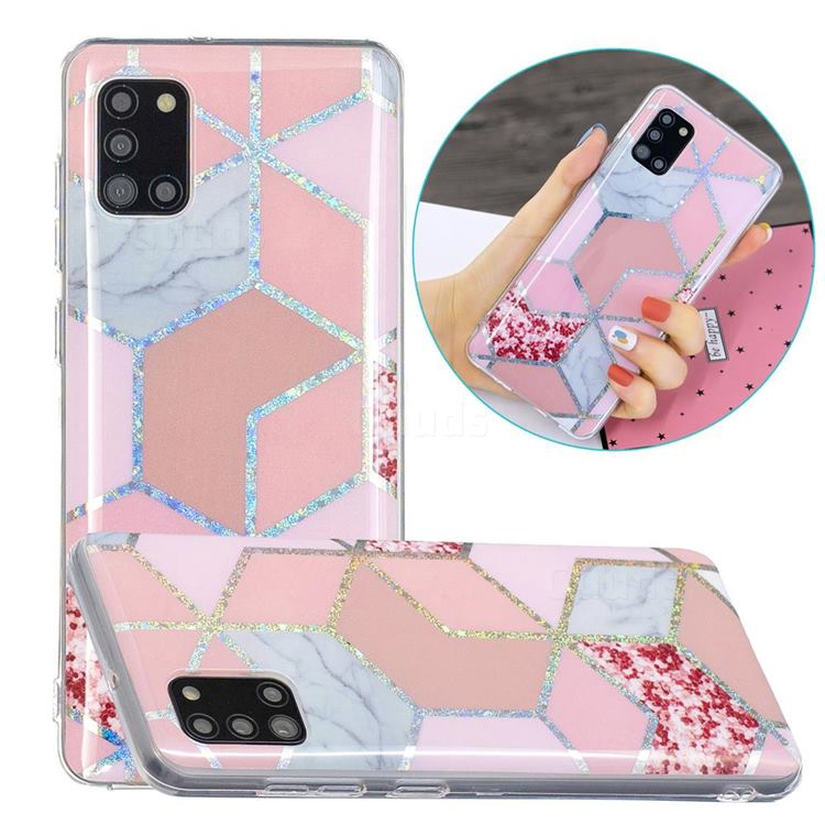 Pink Marble Painted Galvanized Electroplating Soft Phone Case Cover for Samsung Galaxy A31
