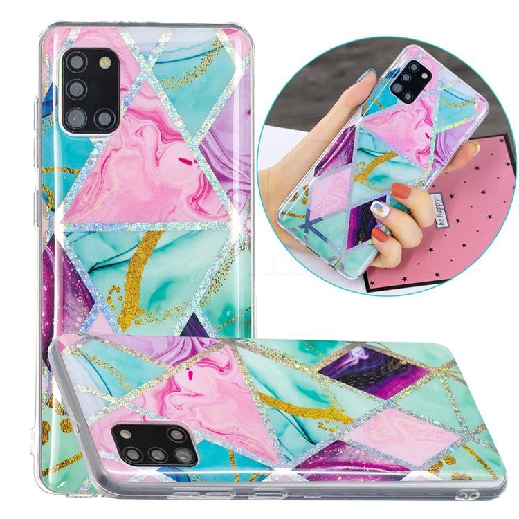 Triangular Marble Painted Galvanized Electroplating Soft Phone Case Cover for Samsung Galaxy A31