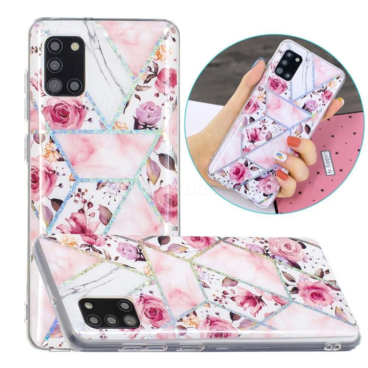 Rose Flower Painted Galvanized Electroplating Soft Phone Case Cover for Samsung Galaxy A31