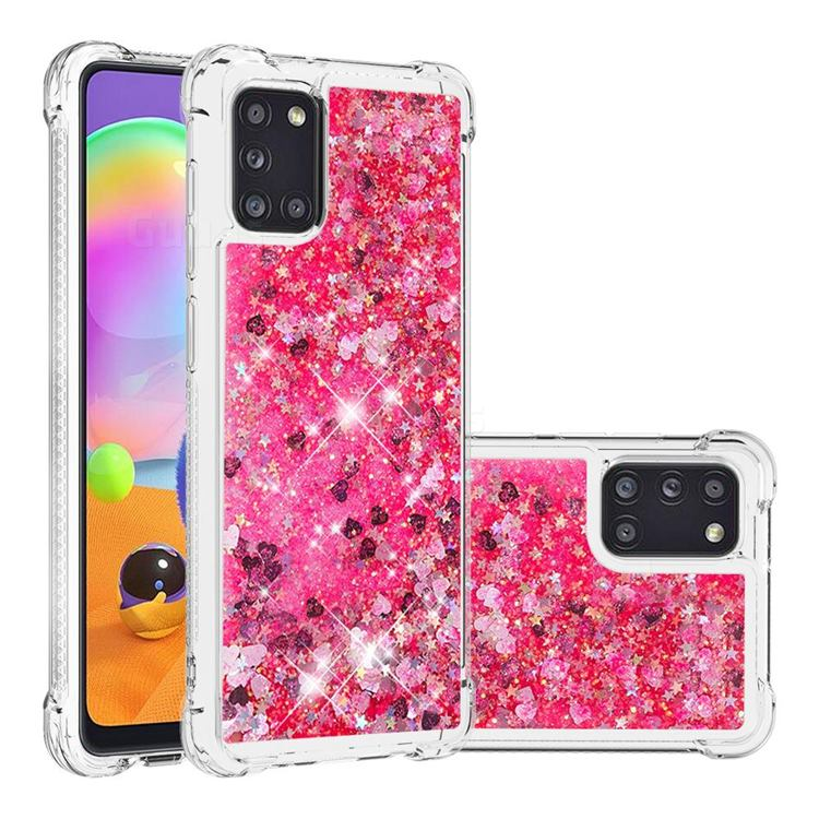 Dynamic Liquid Glitter Sand Quicksand TPU Case for Samsung Galaxy A31 - Pink Love Heart