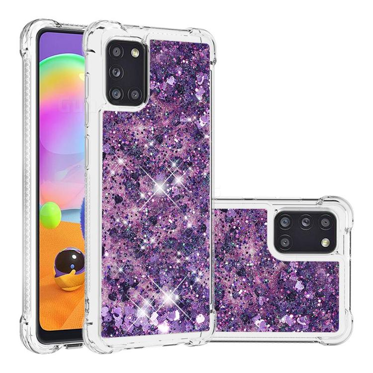 Dynamic Liquid Glitter Sand Quicksand Star TPU Case for Samsung Galaxy A31 - Purple