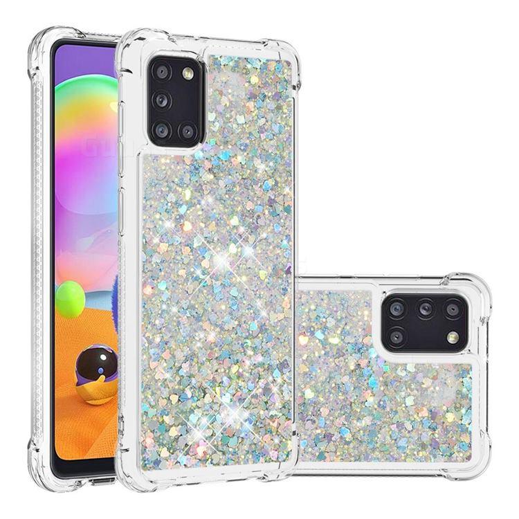 Dynamic Liquid Glitter Sand Quicksand Star TPU Case for Samsung Galaxy A31 - Silver
