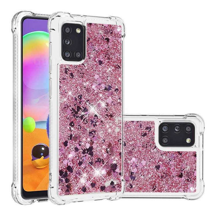 Dynamic Liquid Glitter Sand Quicksand Star TPU Case for Samsung Galaxy A31 - Diamond Rose