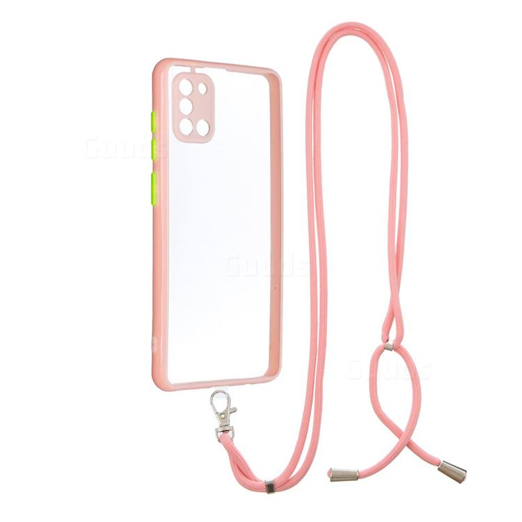 Necklace Cross-body Lanyard Strap Cord Phone Case Cover for Samsung Galaxy A31 - Pink
