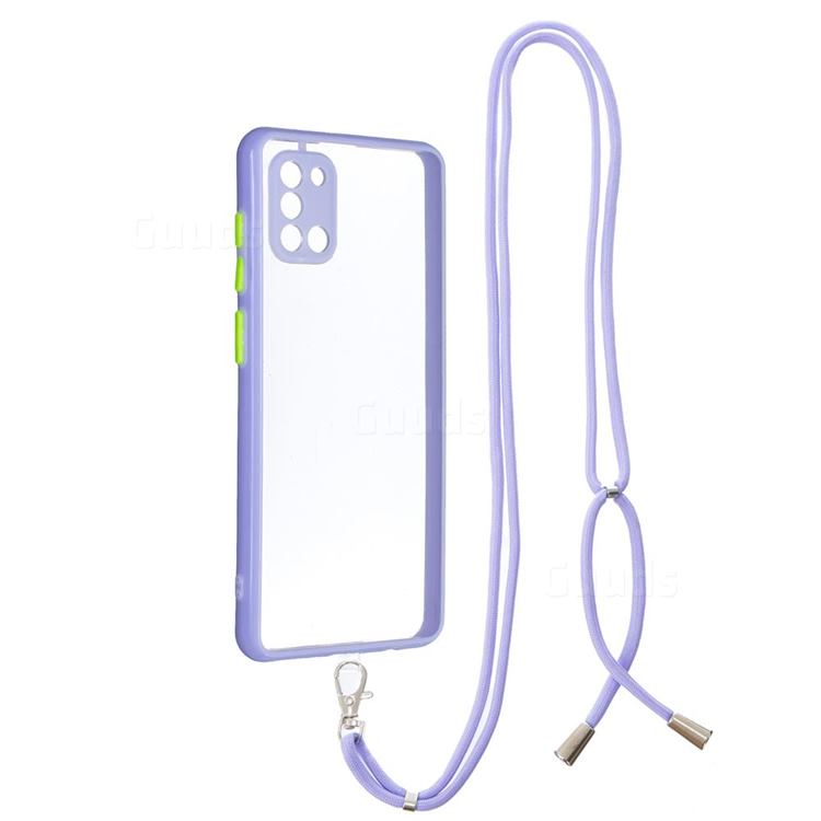 Necklace Cross-body Lanyard Strap Cord Phone Case Cover for Samsung Galaxy A31 - Purple