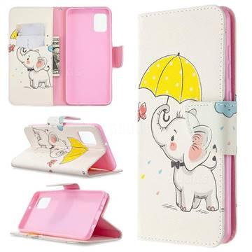 Umbrella Elephant Leather Wallet Case for Samsung Galaxy A31