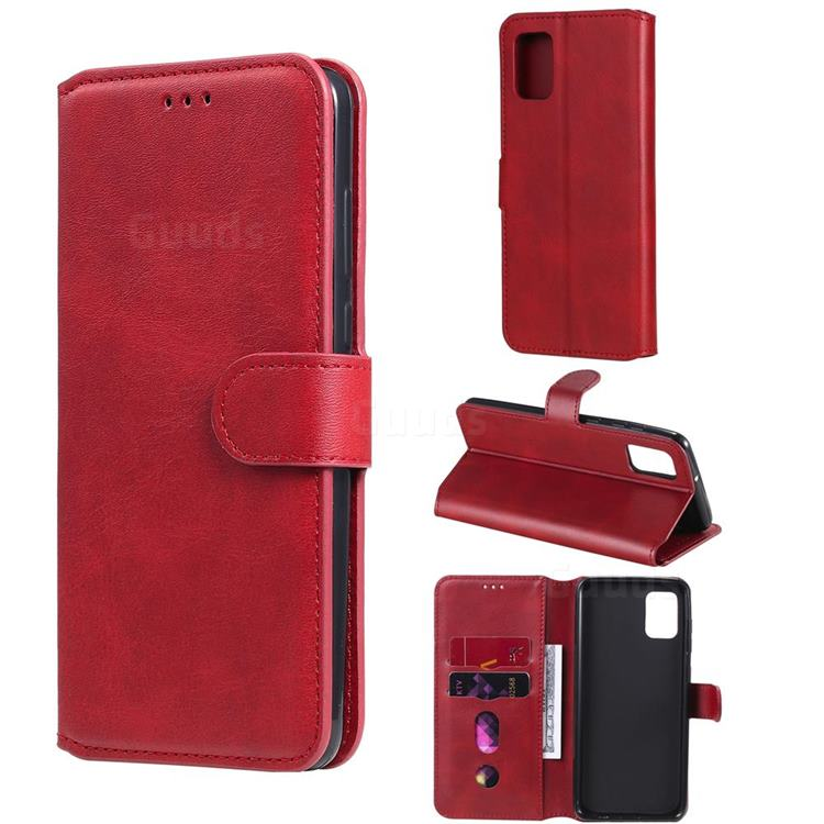 Retro Calf Matte Leather Wallet Phone Case for Samsung Galaxy A31 - Red