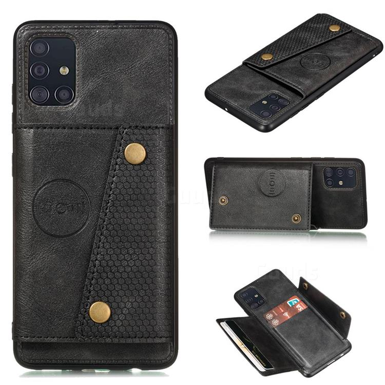 Retro Multifunction Card Slots Stand Leather Coated Phone Back Cover for Samsung Galaxy A31 - Black