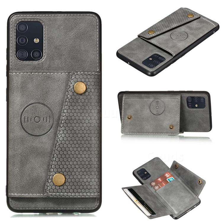 Retro Multifunction Card Slots Stand Leather Coated Phone Back Cover for Samsung Galaxy A31 - Gray