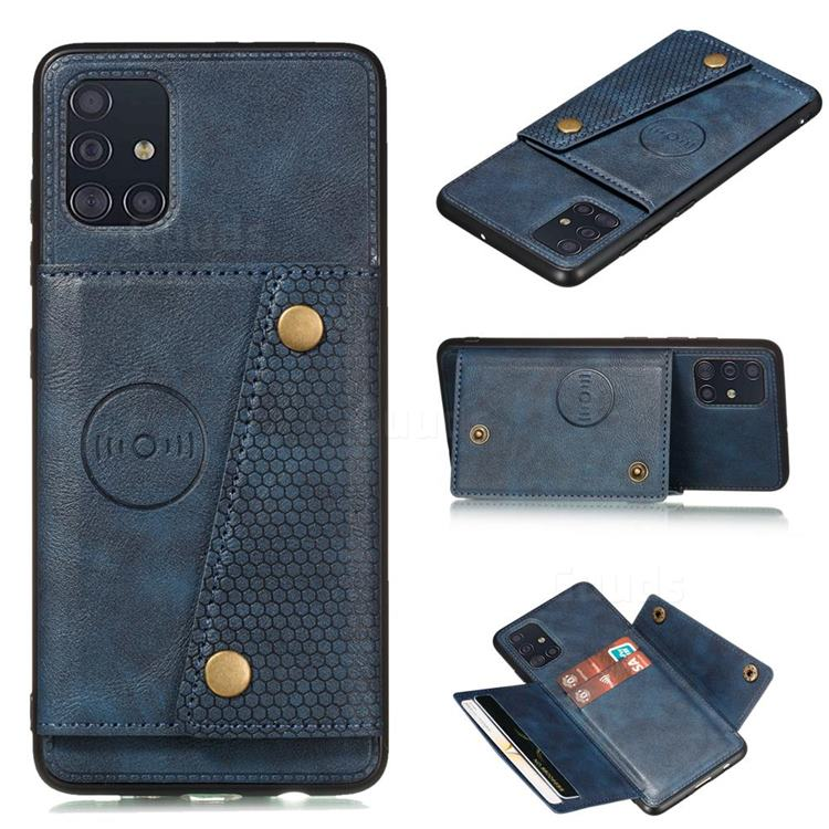 Retro Multifunction Card Slots Stand Leather Coated Phone Back Cover for Samsung Galaxy A31 - Blue