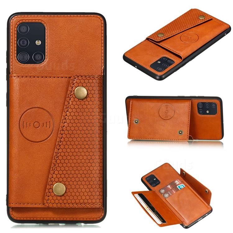Retro Multifunction Card Slots Stand Leather Coated Phone Back Cover for Samsung Galaxy A31 - Brown