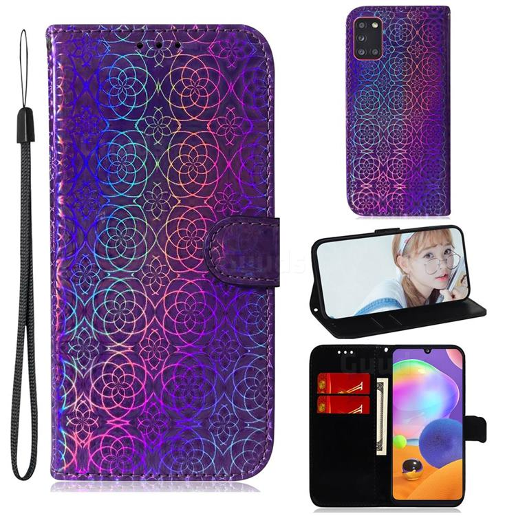 Laser Circle Shining Leather Wallet Phone Case for Samsung Galaxy A31 - Purple
