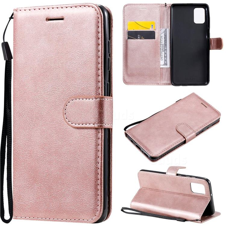 Retro Greek Classic Smooth PU Leather Wallet Phone Case for Samsung Galaxy A31 - Rose Gold