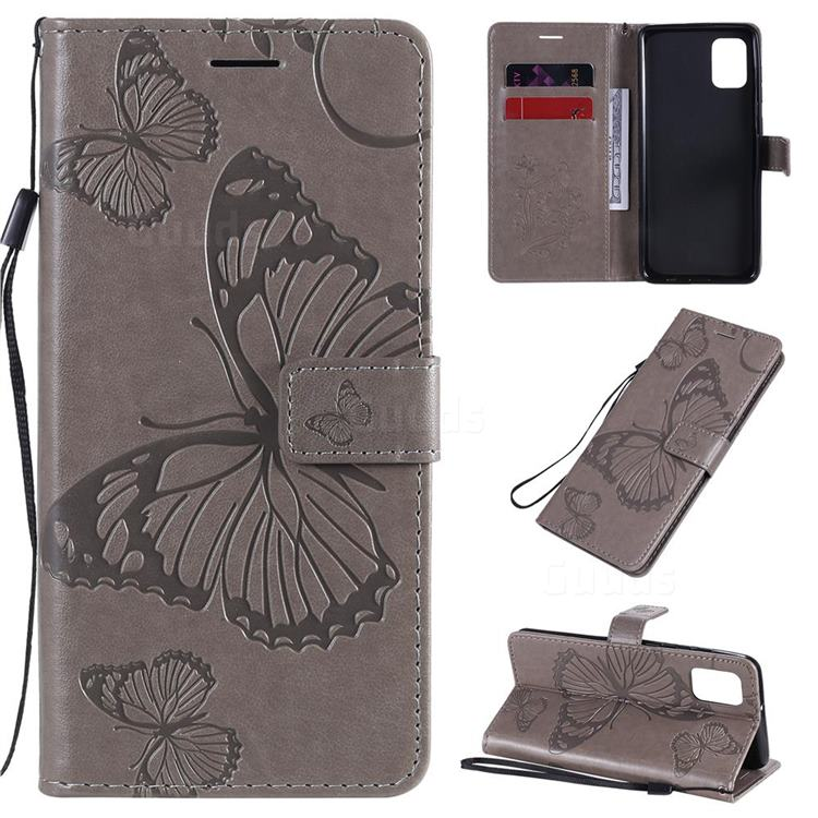 Embossing 3D Butterfly Leather Wallet Case for Samsung Galaxy A31 - Gray