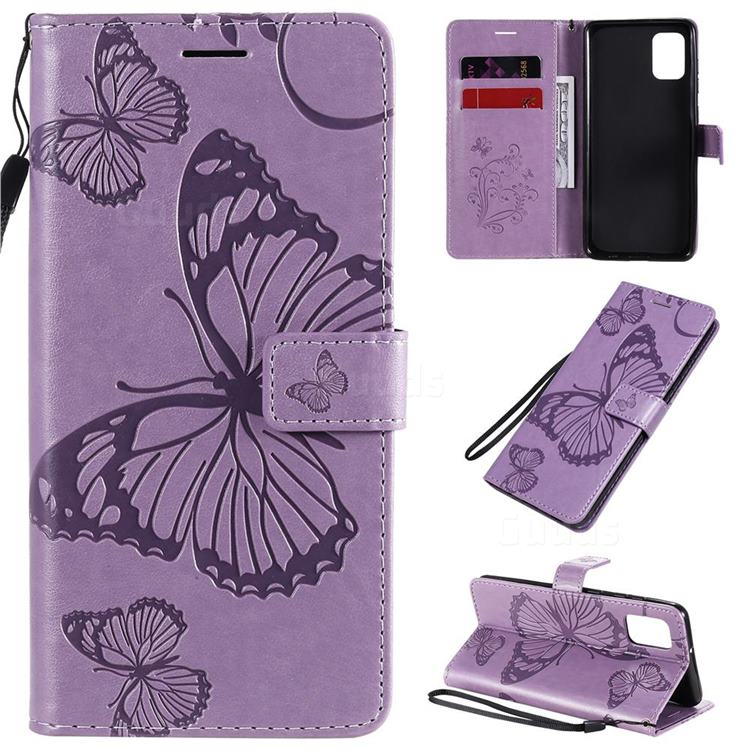 Embossing 3D Butterfly Leather Wallet Case for Samsung Galaxy A31 - Purple