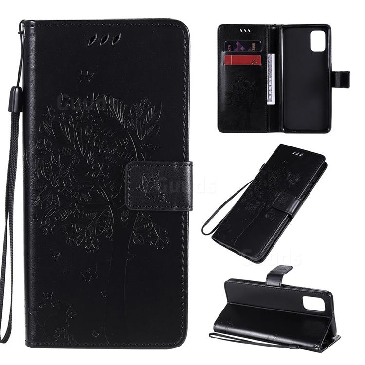 Embossing Butterfly Tree Leather Wallet Case for Samsung Galaxy A31 - Black