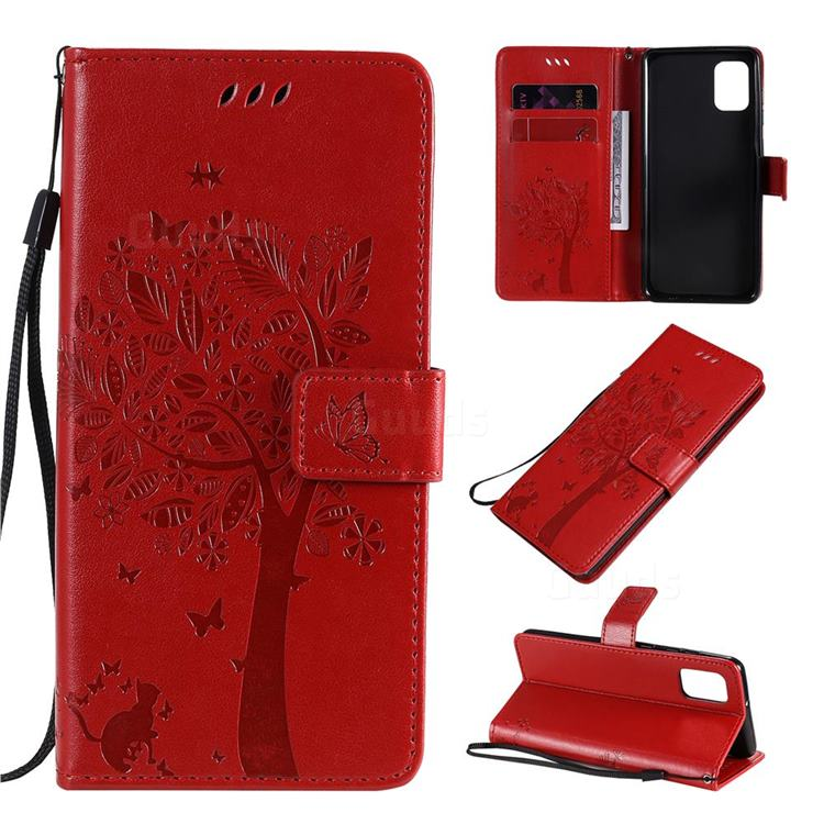 Embossing Butterfly Tree Leather Wallet Case for Samsung Galaxy A31 - Red