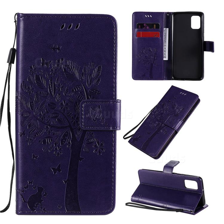 Embossing Butterfly Tree Leather Wallet Case for Samsung Galaxy A31 - Purple